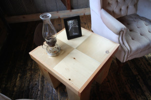Block Wood End Table Reclaimed Local Sourced Wood Furniture