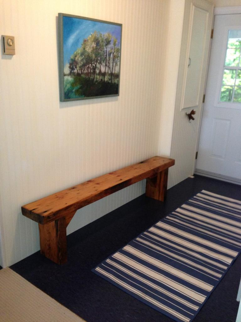 Reclaimed Wood Bench - in its new home