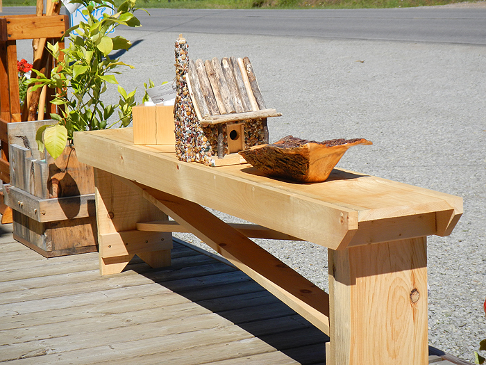 Pine Wood Bench with stone bird house