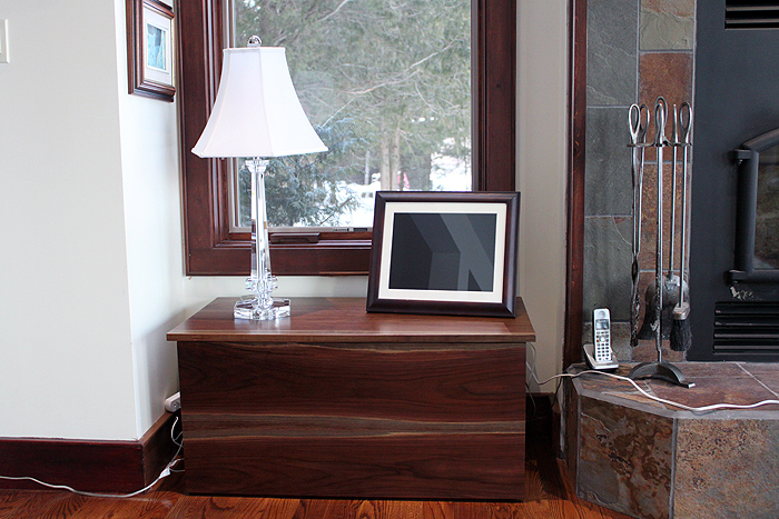 Walnut Wood box with pull out drawer