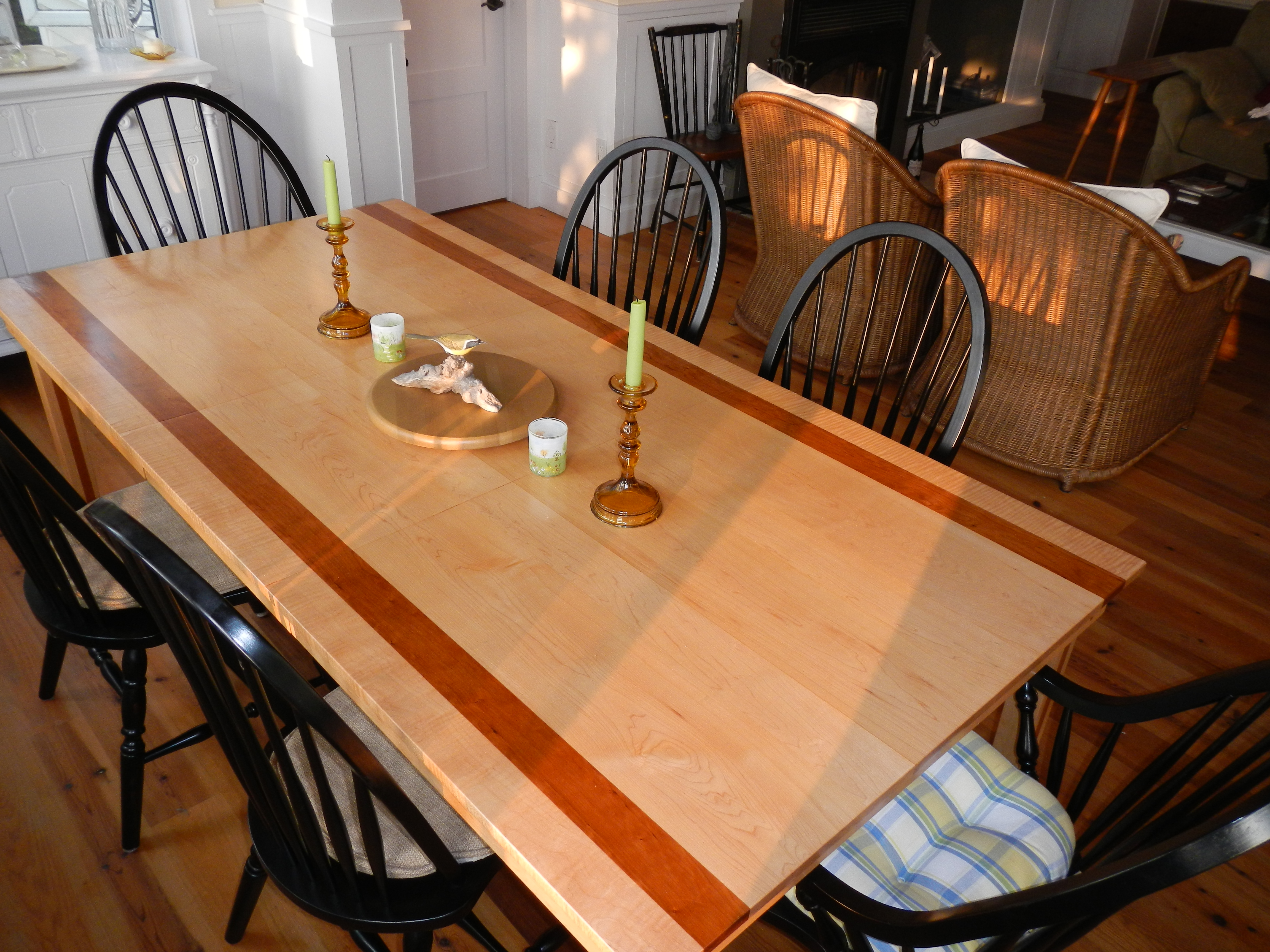 Hardwood Table with cherry wood accent